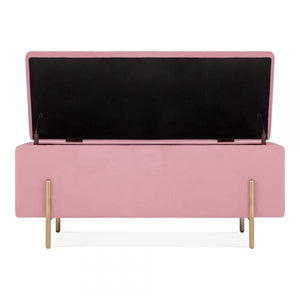 Blossom Millennial Pink Luxe Diamond Velvet Storage Ottoman Bedside Table Footstool Gold Brass Metal Leg - Pebble & Leaf HomeFurniture
