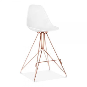 Copper / Bar Stool Mode Alfie Dining Desk Chair White 43cm Gold Eiffel Leg - Pebble & Leaf HomeFurniture