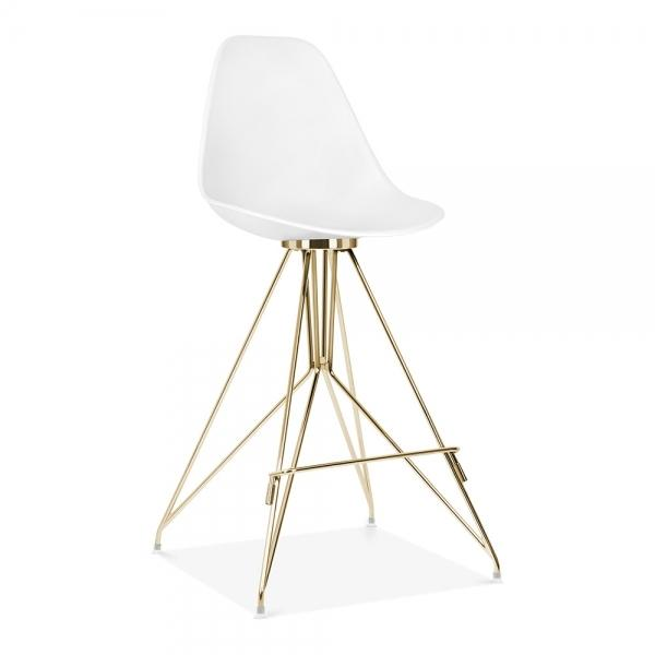 Gold / Bar Stool Mode Alfie Dining Desk Chair White 43cm Chrome Eiffel Leg - Pebble & Leaf HomeFurniture