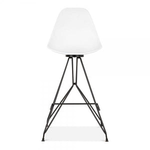 Mode Alfie Dining Desk Chair White 43cm Black Metal Eiffel Leg - Pebble & Leaf HomeFurniture