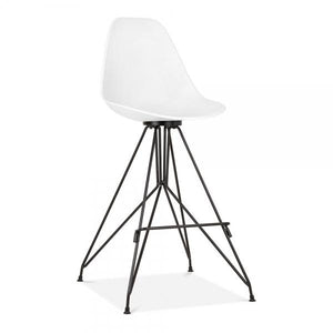 Black / Bar Stool Mode Alfie Dining Desk Chair White 43cm Black Metal Eiffel Leg - Pebble & Leaf HomeFurniture