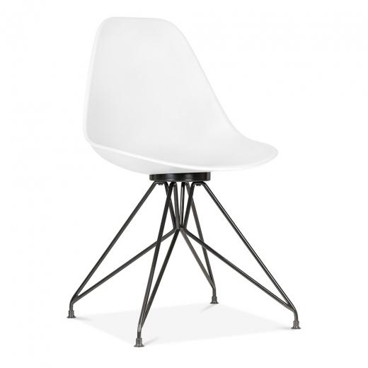 Black / Chair Mode Alfie Dining Desk Chair White 43cm Black Metal Eiffel Leg - Pebble & Leaf HomeFurniture
