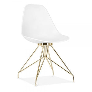 Gold / Chair Mode Alfie Dining Desk Chair White 43cm Chrome Eiffel Leg - Pebble & Leaf HomeFurniture