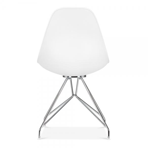 Mode Alfie Dining Desk Chair White 43cm Chrome Eiffel Leg - Pebble & Leaf HomeFurniture