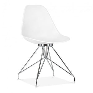 Chrome / Chair Mode Alfie Dining Desk Chair White 43cm Chrome Eiffel Leg - Pebble & Leaf HomeFurniture