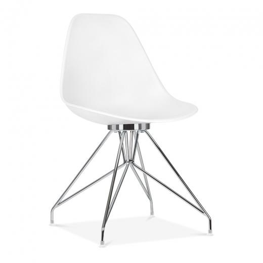 Chrome / Chair Mode Alfie Dining Desk Chair White 43cm Gold Eiffel Leg - Pebble & Leaf HomeFurniture