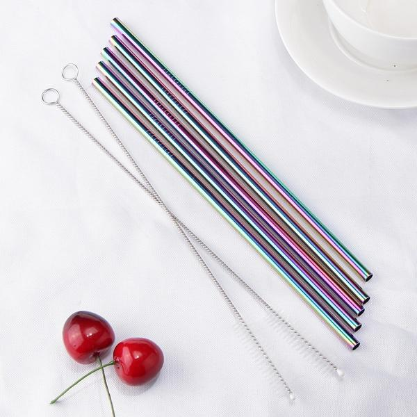 5 / Straight / Multi Colour Multi Rose Gold Copper Black Silver Eco Stainless Reusable Straws - Pebble & Leaf Home