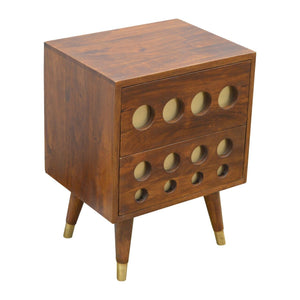 Mango Moon Solid Wood Brass Bedside Table with Drawers - Pebble & Leaf HomeFurniture