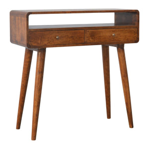 Nordic Curve Console Hall Table Solid Eco Friendly Mango Wood Dark or Light Oak - Pebble & Leaf HomeFurniture