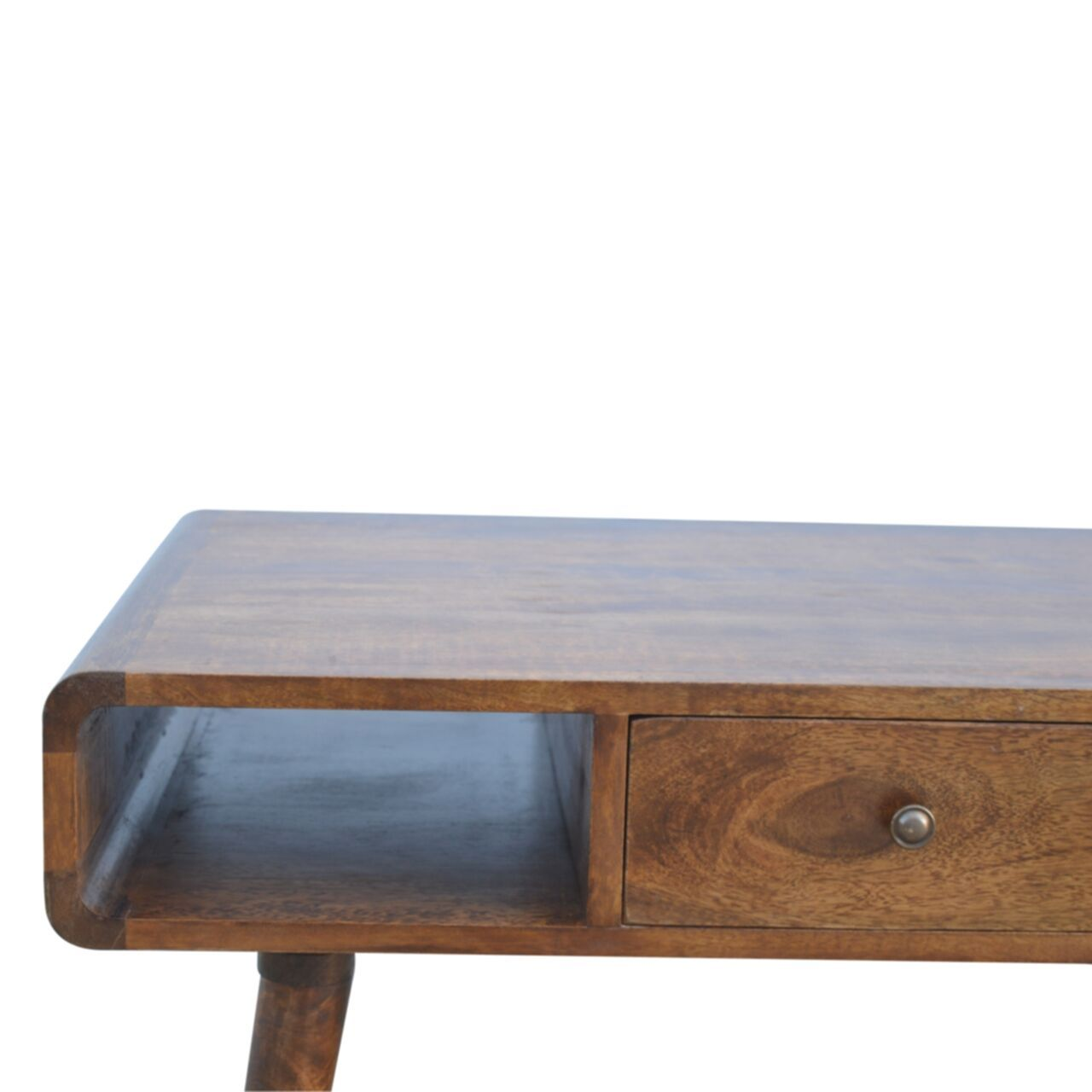Nordic Curve 1 Drawer Media TV Unit Eco Friendly Sustainable Solid Mango Wood - Pebble & Leaf LtdFurniture