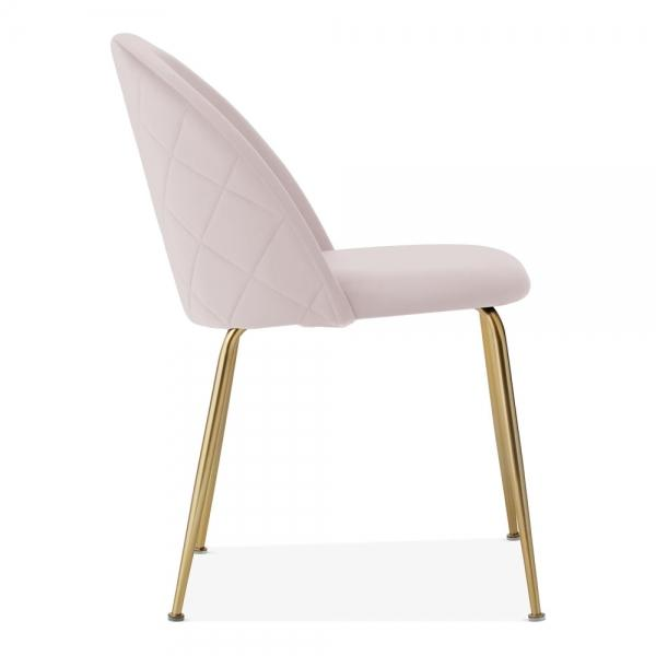 Pale Powder Blush Pink / Gold Brass / Dining Chair 46cm Pale Powder Blush Pink Luxe Diamond Velvet Dining Chair Gold Brass Metal Leg - Pebble & Leaf HomeFurniture