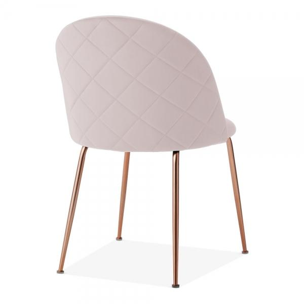Pale Powder Blush Pink Luxe Diamond Velvet Dining Chair Gold Brass Metal Leg - Pebble & Leaf HomeFurniture
