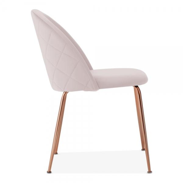 Pale Powder Blush Pink / Copper / Dining Chair 46cm Pale Powder Blush Pink Luxe Diamond Velvet Dining Chair Gold Brass Metal Leg - Pebble & Leaf HomeFurniture