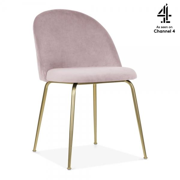 Pink / Brass Powder Pink Blush Luxe Diamond Velvet Dining Chair Gold Brass - Copper - Black Leg - Pebble & Leaf HomeFurniture