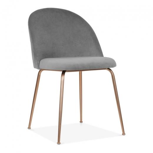 Grey / Copper Shades of Grey Velvet Luxe Diamond Dining Chair Copper - Gold Brass - Black Leg - Pebble & Leaf HomeFurniture