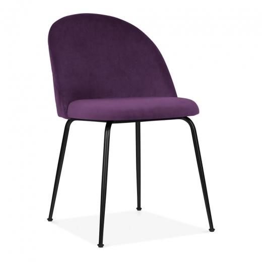 Plum Purple / Black Shades of Blue Teal Purple Luxe Diamond Velvet Dining Chair Copper Gold Brass Black Leg - Pebble & Leaf HomeFurniture