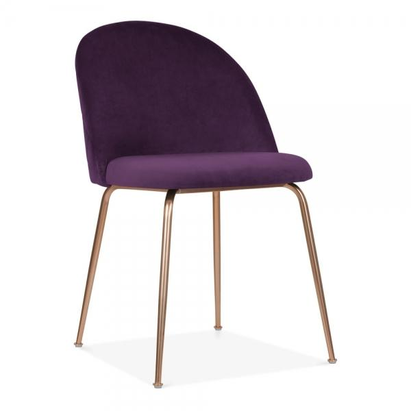 Plum Purple / Copper Shades of Blue Teal Purple Luxe Diamond Velvet Dining Chair Copper Gold Brass Black Leg - Pebble & Leaf HomeFurniture