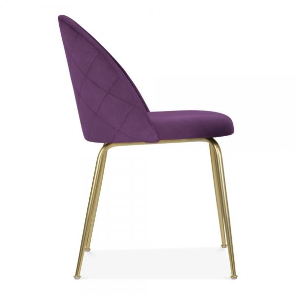 Plum Purple / Gold Brass Shades of Blue Teal Purple Luxe Diamond Velvet Dining Chair Copper Gold Brass Black Leg - Pebble & Leaf HomeFurniture