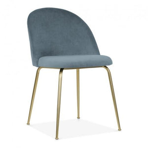 Powder Blue / Gold Brass Shades of Blue Teal Purple Luxe Diamond Velvet Dining Chair Copper Gold Brass Black Leg - Pebble & Leaf HomeFurniture
