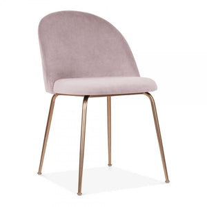 Pink / Copper Powder Pink Blush Luxe Diamond Velvet Dining Chair Gold Brass - Copper - Black Leg - Pebble & Leaf HomeFurniture