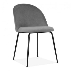 Grey / Black Shades of Grey Velvet Luxe Diamond Dining Chair Copper - Gold Brass - Black Leg - Pebble & Leaf HomeFurniture