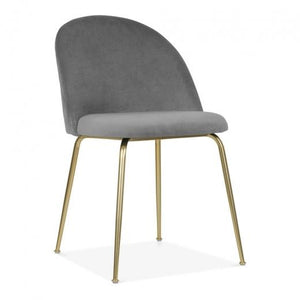 Grey / Brass Shades of Grey Velvet Luxe Diamond Dining Chair Copper - Gold Brass - Black Leg - Pebble & Leaf HomeFurniture