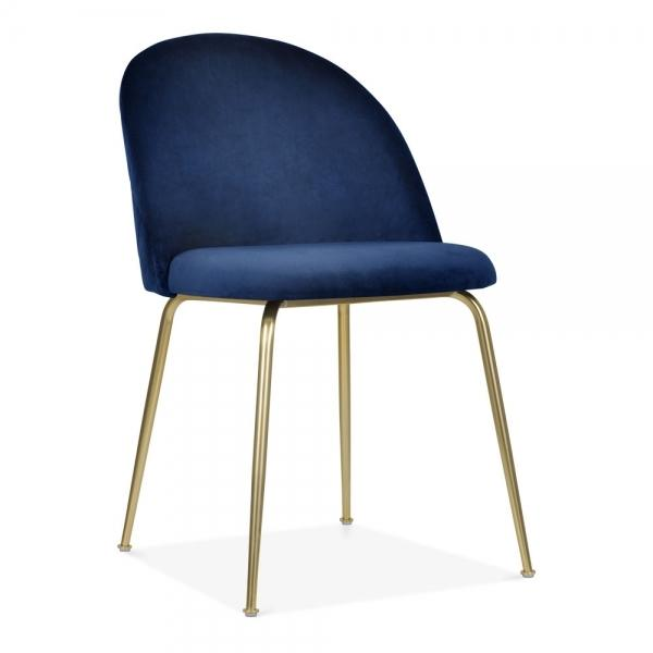 Dark Blue / Gold Brass Shades of Blue Teal Purple Luxe Diamond Velvet Dining Chair Copper Gold Brass Black Leg - Pebble & Leaf HomeFurniture