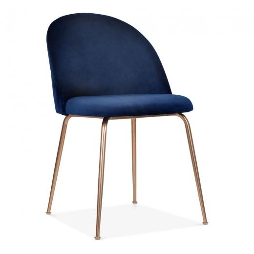 Dark Blue / Copper Shades of Blue Teal Purple Luxe Diamond Velvet Dining Chair Copper Gold Brass Black Leg - Pebble & Leaf HomeFurniture