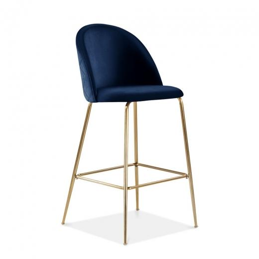 Blue / Brass / 65 cm Blue Luxe Diamond Velvet Bar Stool 65cm 75cm Gold Brass - Copper - Black Leg - Pebble & Leaf HomeFurniture