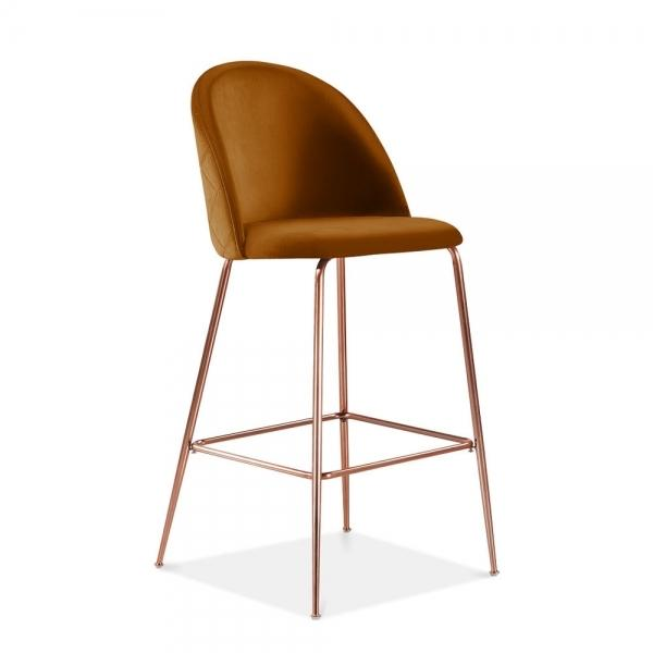 Burnt Orange Tan / Copper Luxe Diamond Velvet Bar Stool 65cm Leg Gold Brass Copper BlacK - Pebble & Leaf HomeFurniture