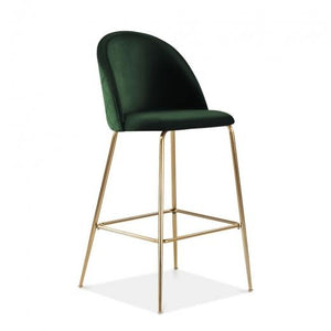 Emerald Green / Brass / 65 cm Emerald Green Luxe Diamond Velvet Bar Stool 65cm - 75cm Gold Brass - Copper - Black Leg - Pebble & Leaf LtdFurniture