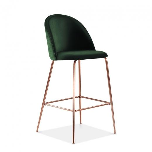 Emerald Green / Copper / 65 cm Emerald Green Luxe Diamond Velvet Bar Stool 65cm - 75cm Gold Brass - Copper - Black Leg - Pebble & Leaf LtdFurniture
