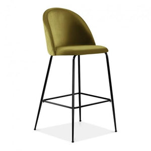 Olive Green / Black / 75 cm Olive Green Luxe Diamond Velvet Bar Stool 75cm Gold Brass - Copper - Black Metal Leg - Pebble & Leaf HomeFurniture