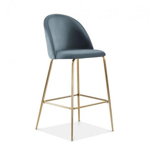 Powder Blue / Brass / 65 cm Powder Blue Luxe Diamond Velvet Bar Stool 65cm Gold Brass . Copper . Black Leg - Pebble & Leaf HomeFurniture