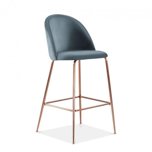Powder Blue / Copper / 65 cm Powder Blue Luxe Diamond Velvet Bar Stool 65cm Gold Brass . Copper . Black Leg - Pebble & Leaf HomeFurniture