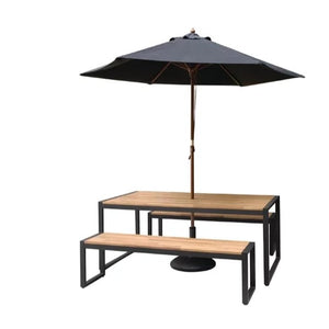 180cm / Set 2 x Benches 1 x Table Urban Industrial Rustic Light Solid Wood Black Steel Square U Leg Picnic Table Bench Set 160cm - 180cm - Pebble & Leaf LtdFurniture