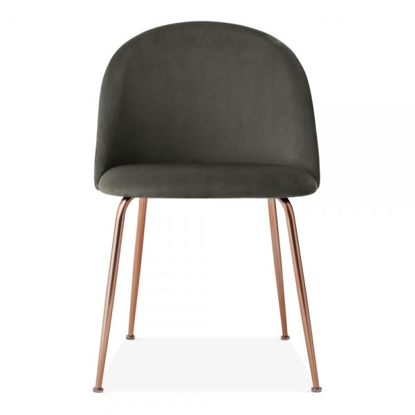 Shades of Grey Velvet Luxe Diamond Dining Chair Copper - Gold Brass - Black Leg - Pebble & Leaf HomeFurniture