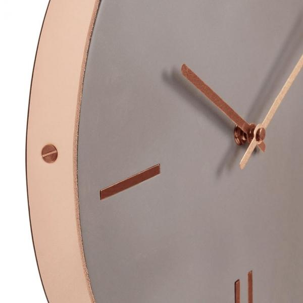 Simplicity Natural Grey Concrete Copper - Brass - Leather Belt Clock - Pebble & Leaf Ltd