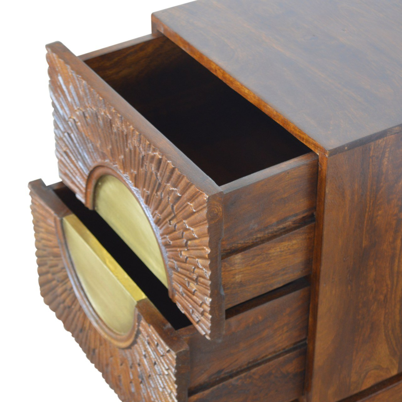 Sunburst Chestnut Brass 2 Drawer Bedside Table Eco Sustainable 100% Solid Mango Wood