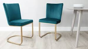 Elegance Curve Cantilever Velvet Bar Stool Dining ArmChair Footstool Teal Brushed Gold Brass