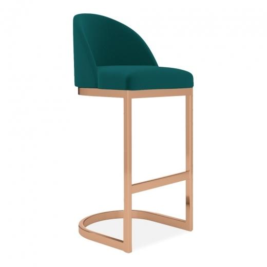 Teal Luxe Curve High Back Velvet Copper - Brass - Black Leg Bar Stool 65 - 75 cm - commercial use bar stool, free velvet protection offer, free UK delivery, teal green blue, copper leg, 2020 best bar stool chair luxury minimalist kitchen counter top height 65cm 75cm & Leaf HomeFurniture