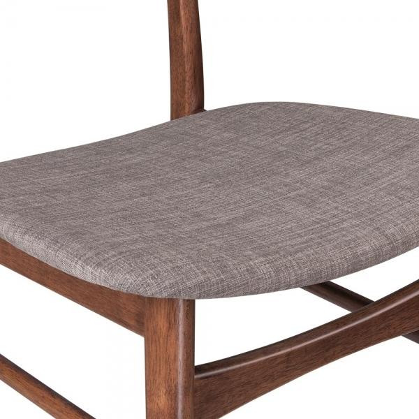 The Danish Half Moon Curve Back Dining Desk Chair Grey Fabric Seat - Pebble & Leaf LtdFurniture