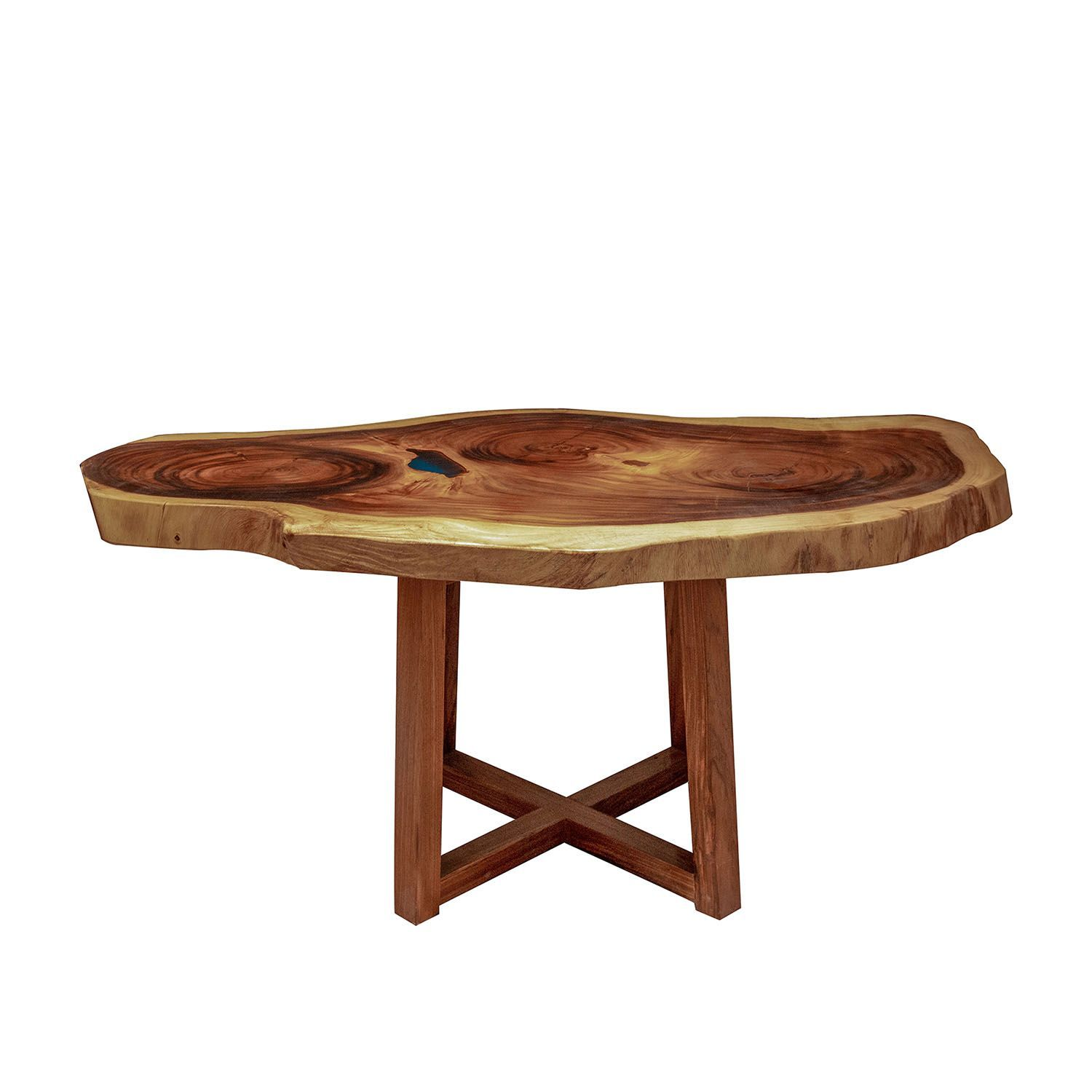 The Real Solid Zebrano Chunky Wood Live Edge Resin Blue Lake 165cm Table - Pebble & Leaf Ltd