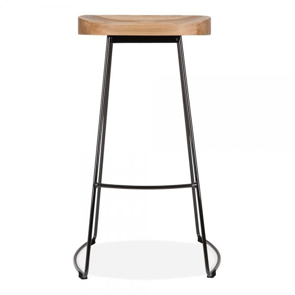 The Real Dark / Light Wood Bar Stool Solid Steel Leg 75cm - Pebble & Leaf Ltd