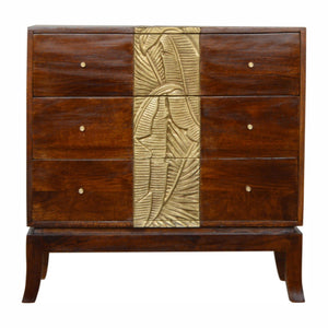 Tropical Leaf Carved Chestnut Brass Luxury Chest of 3 Drawers Eco Sustainable 100% Solid Mango Wood