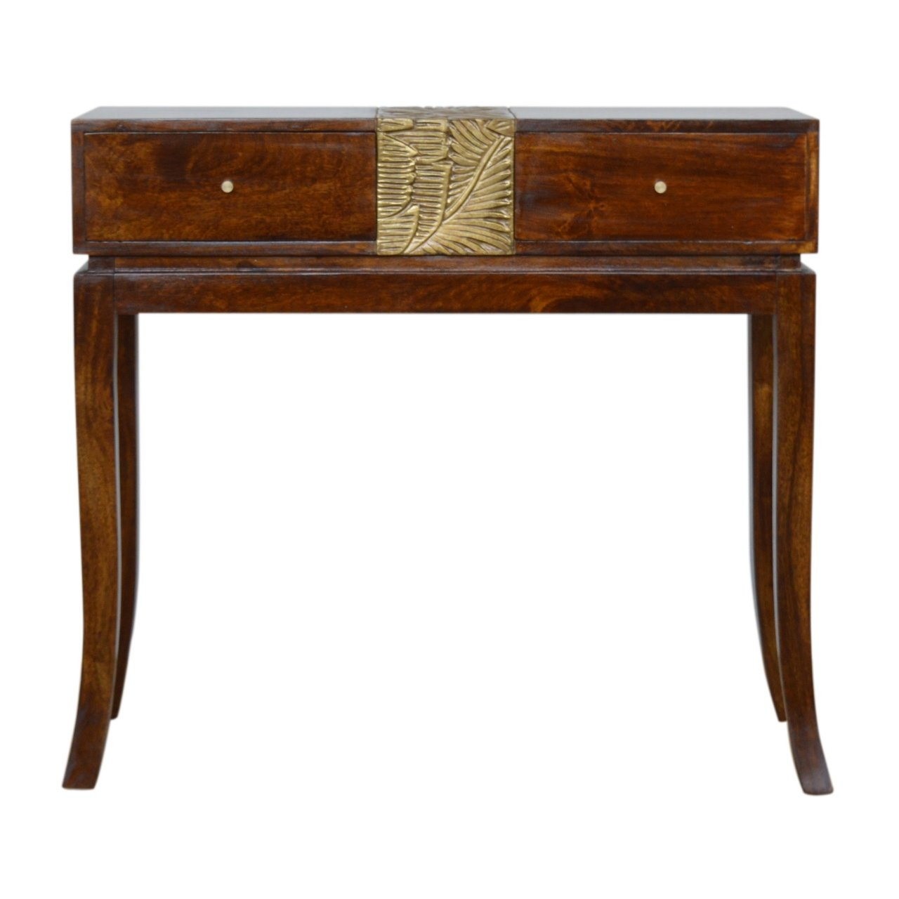 Tropical Leaf Carved Chestnut Brass Luxury Console Table Eco Sustainable 100% Solid Mango Wood