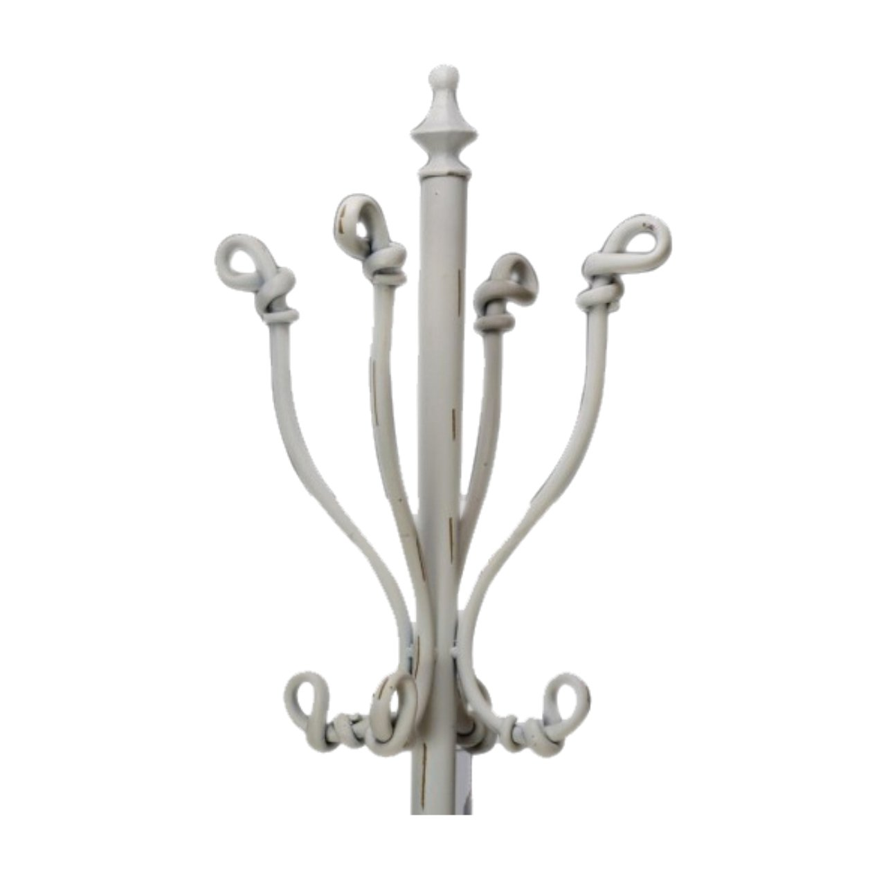 The Knot Scrolled Distressed Vintage Coat Hat Hanger Umbrella Stick Stand Handbag Rack - Cream