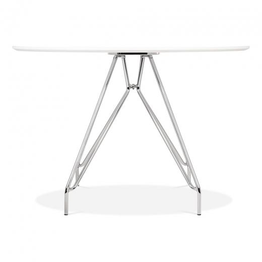 Mode Icon C1 White Copper . Gold . Chrome . Black Metal Leg . Dark Wood . Oak Dining Table 110cm - Pebble & Leaf HomeFurniture