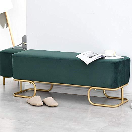 Green Velvet Luxe Hall Bench / 120cm x 40cm x 42.5cm Dark Blue Luxe Revival Velvet Gold Modern Art Deco Ottoman Hall Bench - Pebble & Leaf HomeFurniture