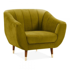 Antique Mustard Gold / Wood Gold Luxe Modern Art Deco Shell Deep Sea Green Teal Velvet Armchair - Pebble & Leaf HomeFurniture
